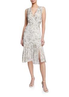 Elie Tahari Brittney Floral-Print V-Neck Sleeveless Cocktail Dress