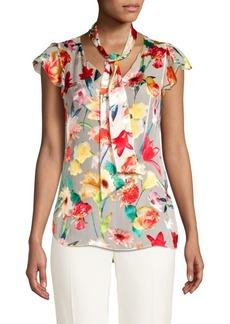 Elie Tahari Bryce Floral Silk-Blend Tie Blouse