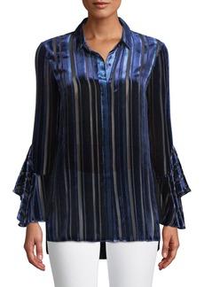 Elie Tahari Button-Front Draped-Sleeve Striped Velvet Burnout Blouse