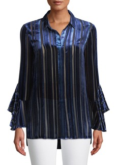 Elie Tahari Button-Front Draped-Sleeve Striped Velvet Burnout Blouse