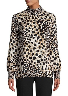 Elie Tahari Camden Spotted Silk Blouse