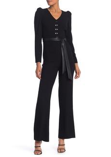 Elie Tahari Campbell Faux Leather Waist Sash Jumpsuit