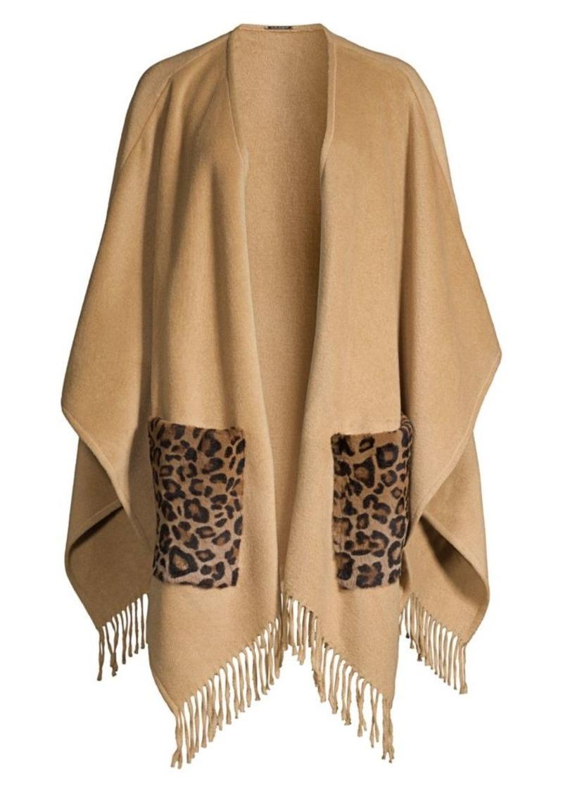 Elie Tahari Carolina Leopard-Print Kangaroo Fur-Pocket Cape