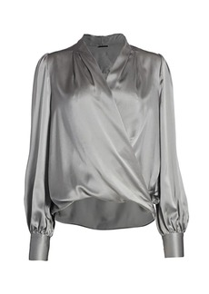 Elie Tahari Cassia Faux Wrap Silk Shirt