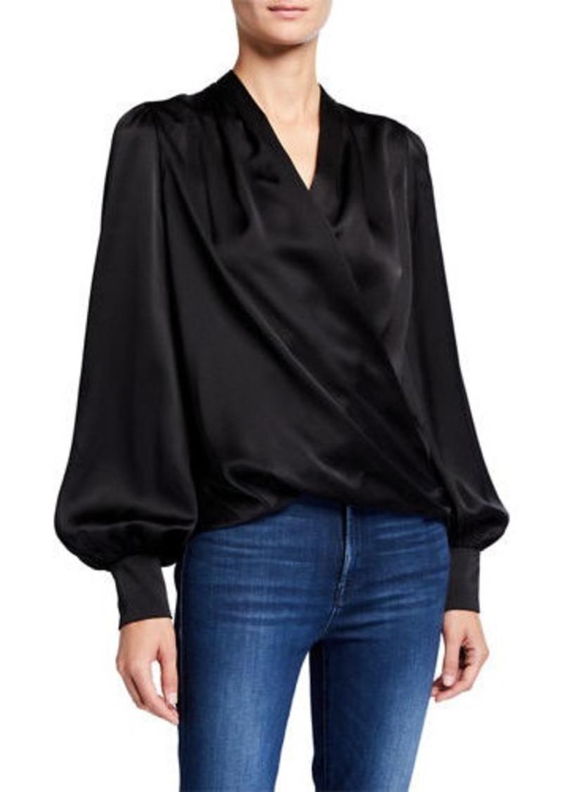 Elie Tahari Cassia Long-Sleeve Gathered Satin Shirt