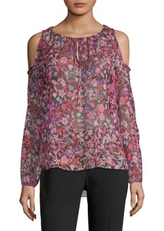 Elie Tahari Cathy Cold-Shoulder Silk Blouse