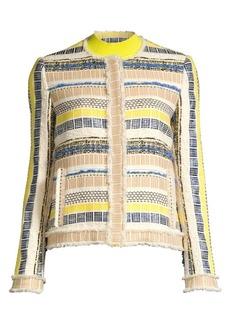 Elie Tahari Ceanna Striped Tweed Jacket