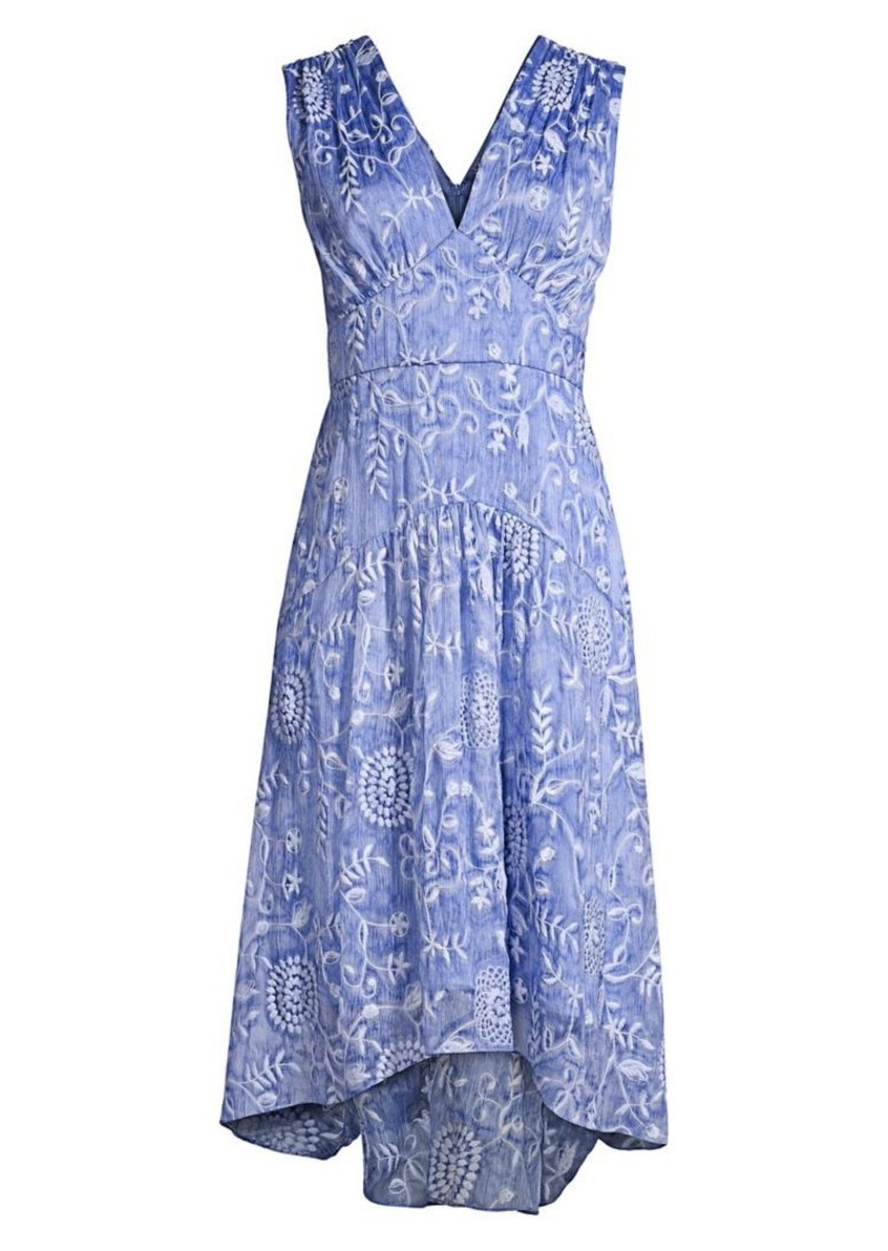 Elie Tahari Celeste Floral Empire Waist A-Line Dress