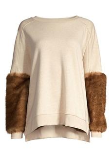 Elie Tahari Chantae Faux Fur-Cuff Sweatshirt