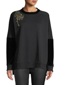 Elie Tahari Chantae Knit Sweater w/ Tiger Detail