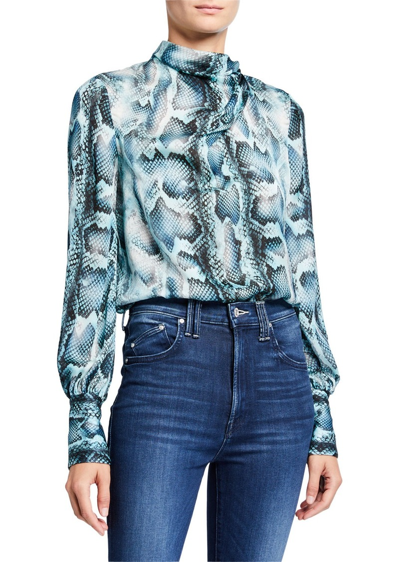 Elie Tahari Chantal Snake-Print Tie-Neck Silk Shirt