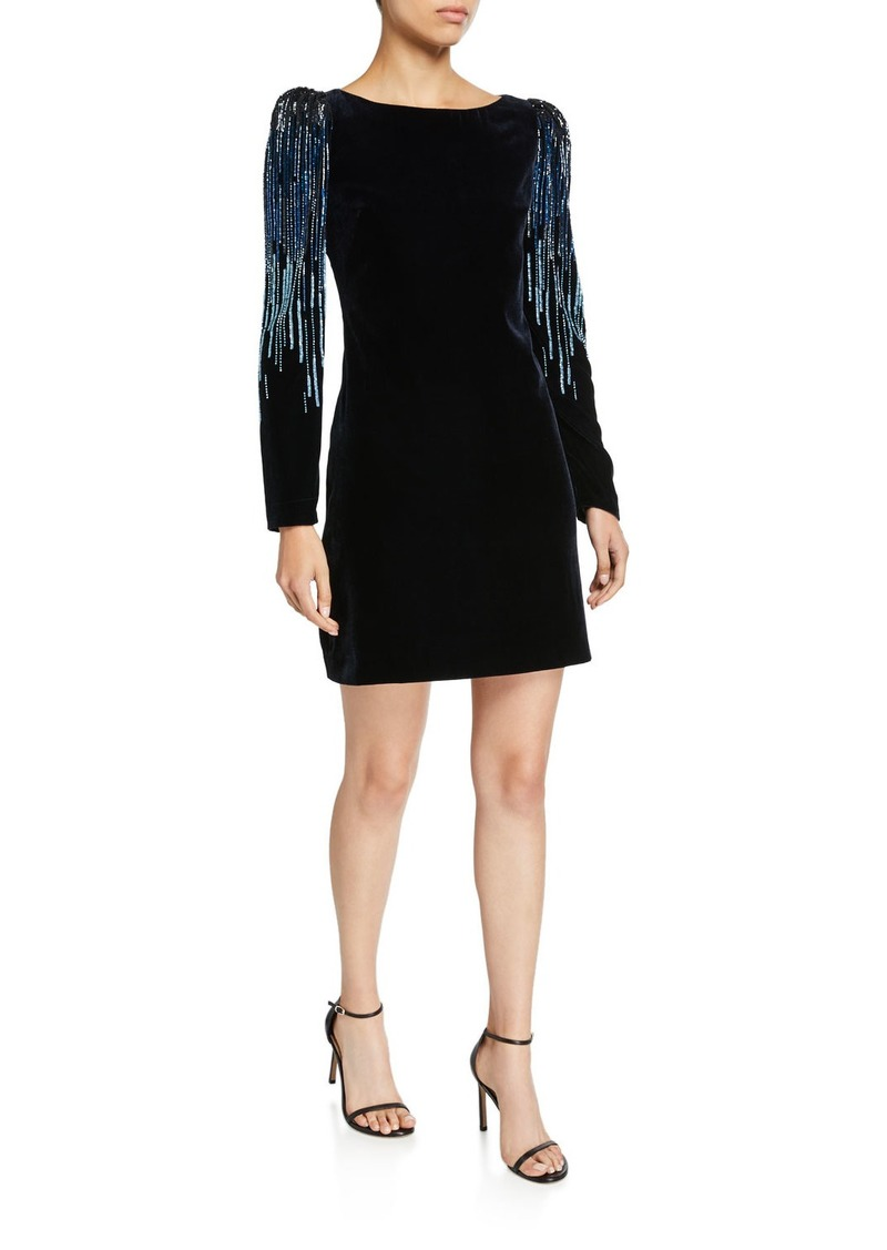 Elie Tahari Chantal Velvet Long-Sleeve Short Dress with Embellishment