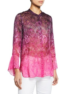 Elie Tahari Chava Button-Front Long-Sleeve Floral-Print Blouse