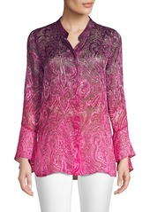 Elie Tahari Chava Satin Burnout Blouse
