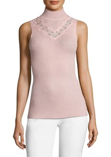 Elie Tahari Cheresia Wool Sleeveless Turtleneck