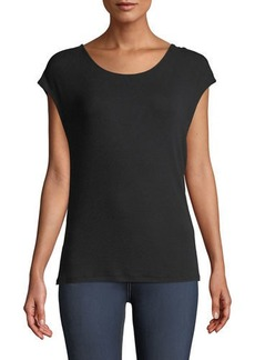 Elie Tahari Chrissy Cap-Sleeve V-Back Knit Top