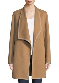 Elie Tahari Christina Contrast-Trim Wool Coat