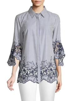 Elie Tahari Clark Embroidered Striped Shirt