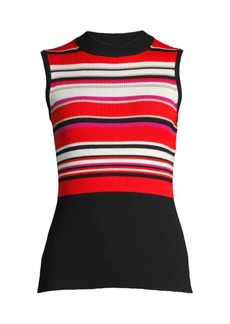 Elie Tahari Clover Striped Rib-Knit Top