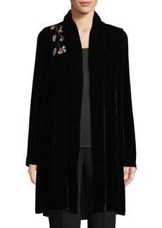 Elie Tahari Coley Floral-Embroidered Velvet Jacket