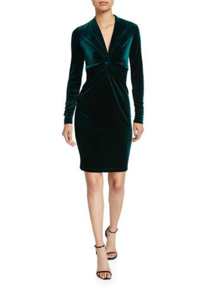 Elie Tahari Cynthia Twist-Front Long-Sleeve Velvet Dress