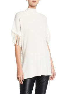 Elie Tahari Cyrus Fringe Short-Sleeve Sweater