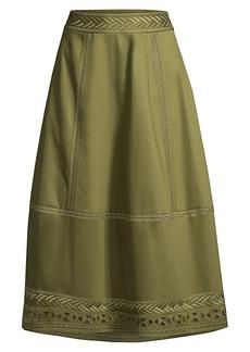 Elie Tahari Daisy Embroidered Poplin Midi Skirt