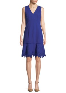 Elie Tahari Darianna V-Neck Sleeveless A-Line Crepe Dress w/ Lace Hem