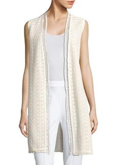 Elie Tahari Darlene Crochet Tweed Vest