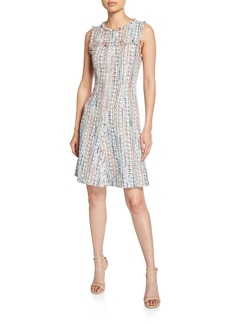 Elie Tahari Dean Crewneck Sleeveless Tweed Dress