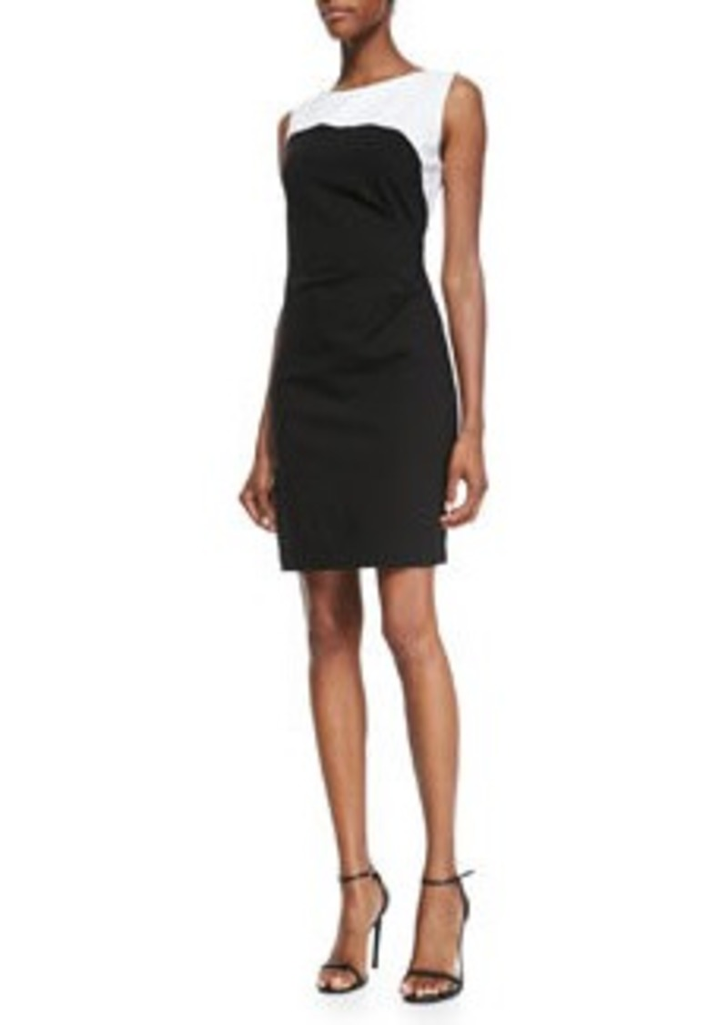Elie Tahari Dilana Sleeveless Contrast Sheath Dress   Dilana Sleeveless Contrast Sheath Dress