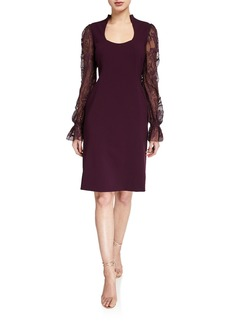 Elie Tahari Diva Scoop-Neck Embroidered Blouson-Sleeve Dress