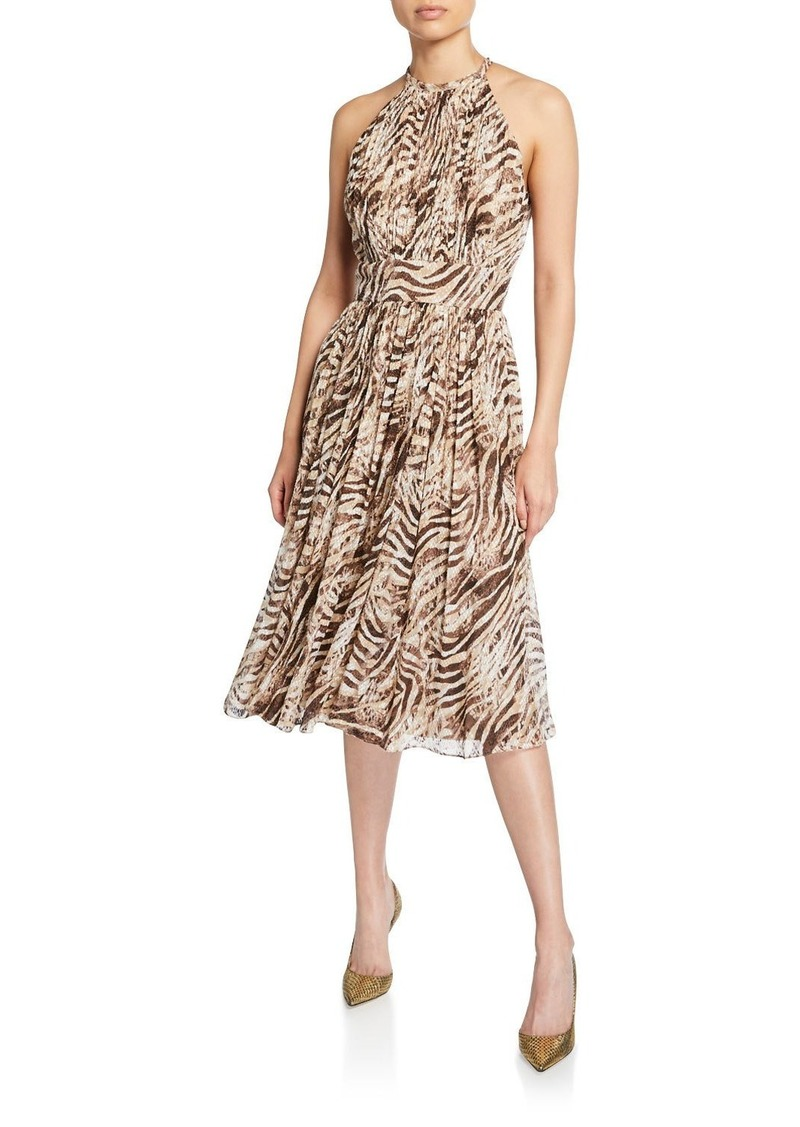 Elie Tahari Dominica Tiger Stripe Halter Dress
