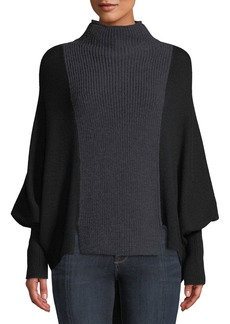 Elie Tahari Dorita High-Neck Blouson-Sleeve Colorblocked Merino Sweater