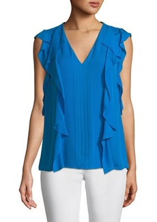 Elie Tahari Dovie Ruffled-Trim Silk Blouse