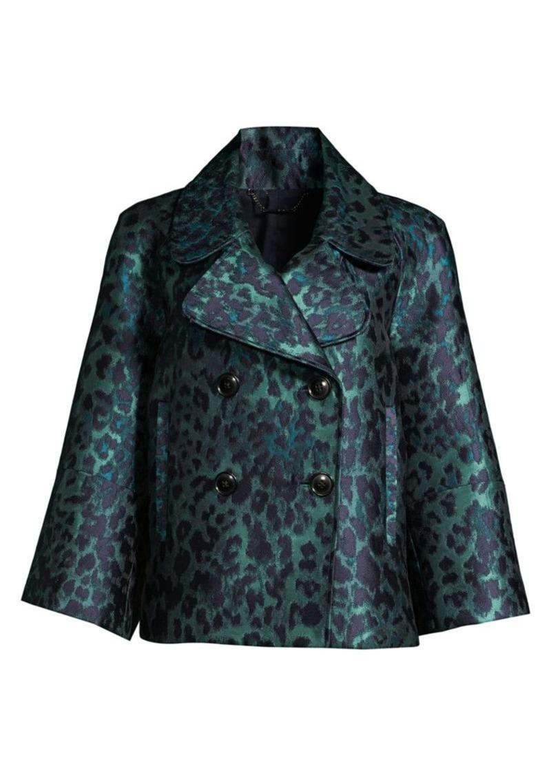 Elie Tahari Edna Leopard-Print Lacquard Jacket