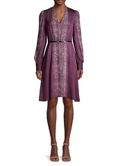 Elie Tahari Eleanora Cobra-Print Belted Dress
