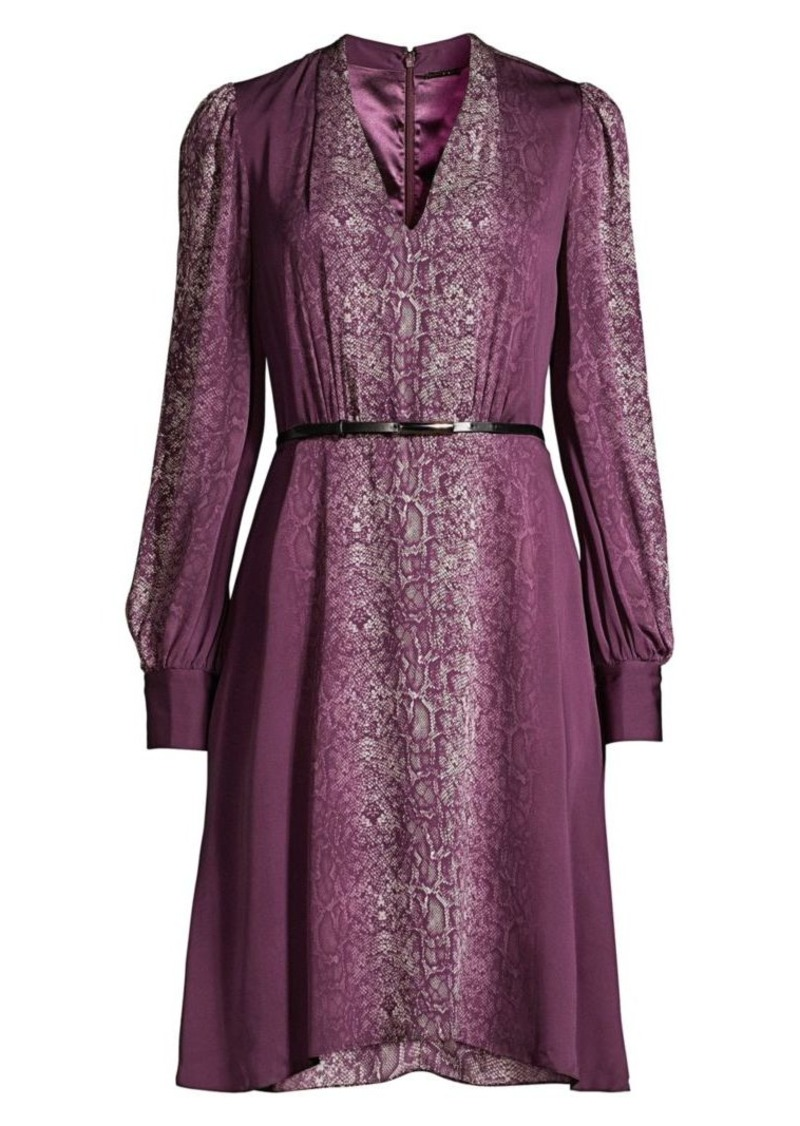 Elie Tahari Eleanora Cobra-Print Belted Dress