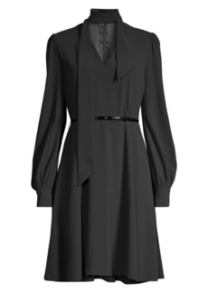 Elie Tahari Eleanora Tieneck Long-Sleeve Belted Shirtdress