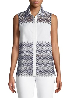 Elie Tahari Abina Scalloped Sleeveless Blouse