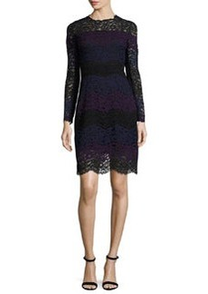 Elie Tahari Ophelia Striped Lace A-Line Dress