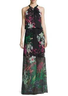 Elie Tahari Cayla Halter-Neck Floral-Print Maxi Dress