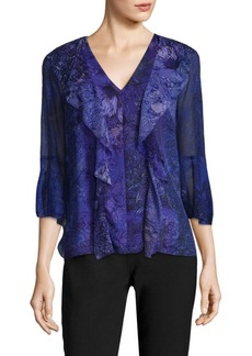 Elie Tahari Adalyn Silk Bell Sleeves Blouse