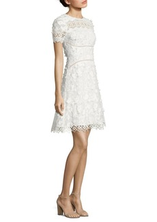 Elie Tahari Adina Embroidered A-Line Dress