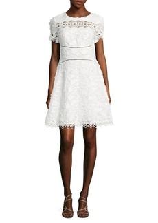 Elie Tahari Adina Embroidered A-Line Dress