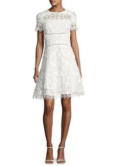 Elie Tahari Adina Short-Sleeve Floral Applique & Lace Dress