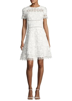 Elie Tahari Adina Short-Sleeve Floral Applique & Lace Dress