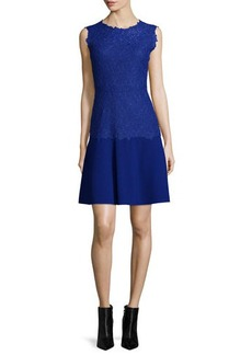 Elie Tahari Adira Sleeveless Lace-Top Dress