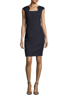 Elie Tahari Aiden Square-Neck Short-Sleeve Dress