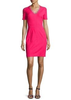 Elie Tahari Ainsley Short-Sleeve Lace-Trim Sheath Dress